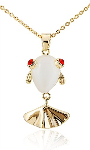 Chic-Net Cadena Brass Asia Pescados de Koi Gatos Blancos de Cristal de Las Gafas sin níquel Oro Rojo de 38 cm