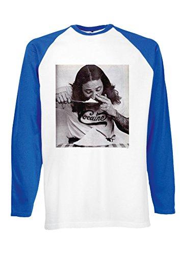 Cocain Guy Drug Bad Swearing Tumblr Royal Blue/White Men Women Unisex Long Sleeve Baseball T Shirt-S