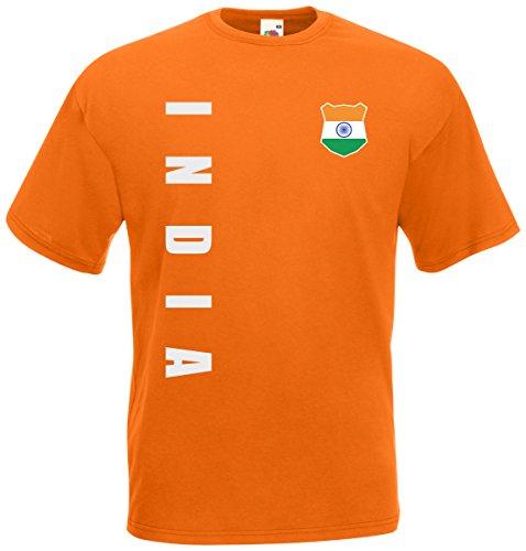 Indien India T-Shirt Trikot Wunschname Wunschnummer (Orange, L)