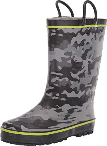 Western Chief Boy's Waterproof Printed Rain Boot, camo Charcoal, 9-10 Toddler