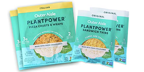 Outer Aisle Cauliflower Sampler Pack | Keto, Low Carb, Gluten Free, Paleo Friendly | Sampler Pack of 4 | 2pk Original Crusts, 2pk Original Thins