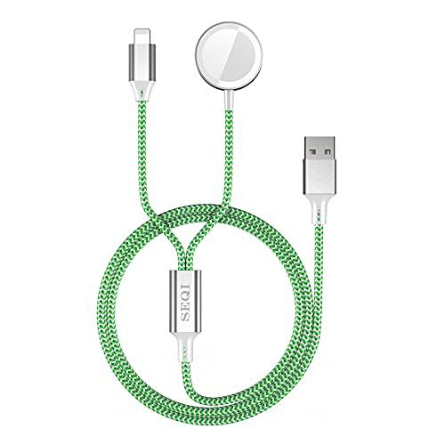SEQI 2in1 Uhrenladegerät, Nylon geflochtenes Uhrenladekabel mit hoher Festigkeit und Zähigkeit, magnetisches kabelloses tragbares Ladegerät, kompatibel mit Apple Watch Serie SE /6/5/4/3/2/1 (Grün)