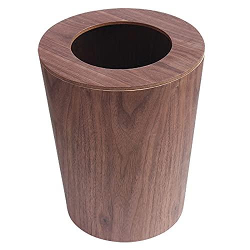 KANGDILE Capacidad de Basura de baño de 9L con Tapones de residuos de Tapa Herramientas de Limpieza casera de Madera Maciza Tapa de Swing de la Basura Redonda para cocinas Oficinas de Inicio