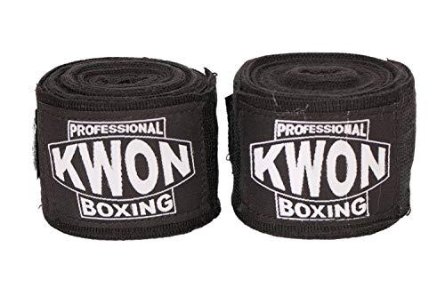 KWON® 5 m Boxbandagen elastisch schwarz PROFI Speziell für Vollkontakt - Box - Bandagen Wickelbandagen Faustbandagen Handbandagen Boxen Kickboxen Free Fight Muay Thai Thaiboxen MMA K-1 K1