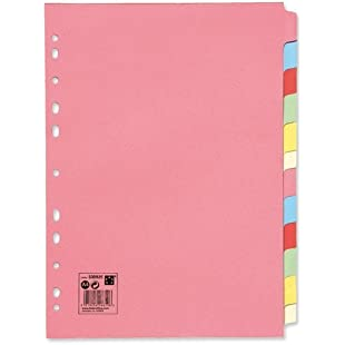 5 Star 330925 Office Subject Dividers Multipunched Manilla Card 12-Part A4 Assorted -Pink:Kisaran