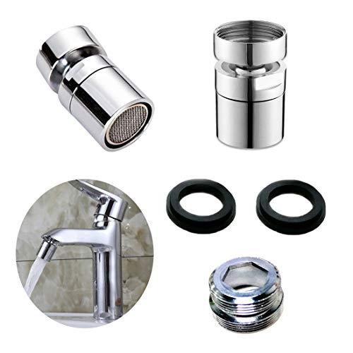 Weiming 360° Giratorio Aireador Antisalpicaduras, filtro de ahorro de agua, filtro de chorro, para cocina y baño, accesorio perfecto, para grifo con rosca exterior M22 o rosca interior M24.