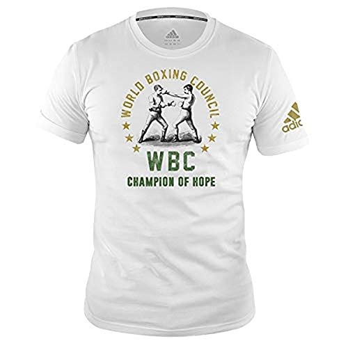 adidas Boxing T-Shirt Men Women Top Gym Training Fitness Workout WBC tee Camiseta de Boxeo para Hombre y Mujer, Blanco, S