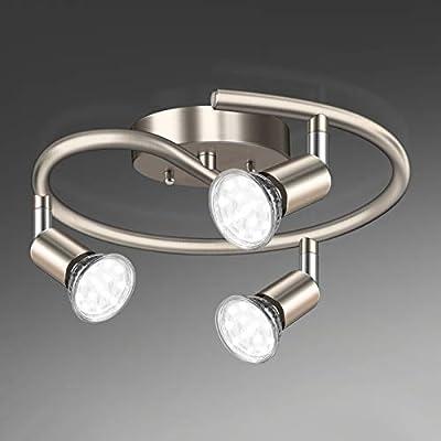 Unicozin 3-Light Spiral LED Track Lighting Kit, Matt Nickel 3 Way Ceiling Spot Lighting, Included 3 x GU10 LED Bulbs (4W, Daylight White 5000K, 400LM, Non-Dimmable), Rotatable Light Head Track Light