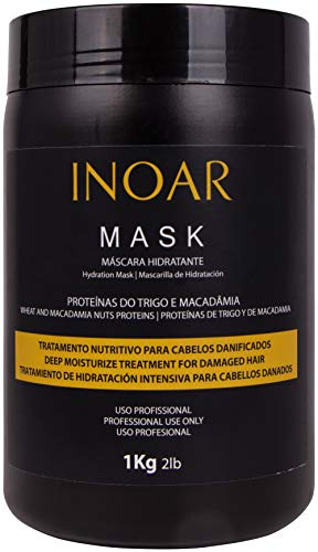 INOAR PROFESSIONAL - Macadamia Oil Premium Mask - Unique Blend of Macadamia Nut Protein and Wheat Protein to Condition and Intensely Moisturize the Hair ( 2lbs / 1 Kg )