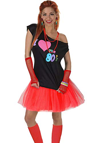 Fun Daisy Clothing Damen I Love The 80er Jahre T-Shirt 80er Jahre Outfit Zubehör, Rot - UK 16-18 / L-XL