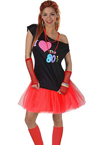 Fun Daisy Clothing Damen I Love The 80er Jahre T-Shirt 80er Jahre Outfit Zubehör, Rot - UK 12-14 / S-M