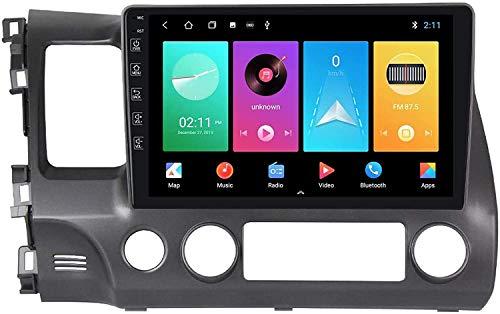 GPS Navigation Head Unit Sat Nav Auto Audio Player DE MP5 FM Radio Receptor Coche Estéreo De 9 Pulgadas Pantalla Táctil Android 9.0 Compatible para Honda Civic Rebon 2006-2011,4 Core 4G+WiFi 1+16GB