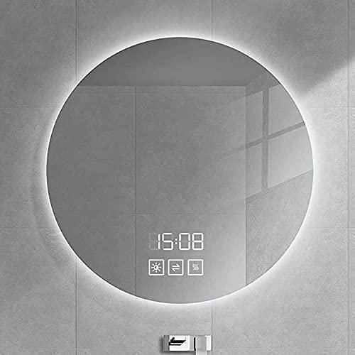 SJZLMB Espejos de Aumento de Pared Espejo de baño de Pared LED Redondo, con botón táctil Regulable y Almohadilla Anti-Niebla, Espejo de Maquillaje Iluminado, Espejo retroiluminado LED