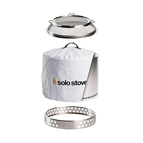 Solo Stove Bonfire Backyard Bundle Includes Bonfire Fire Pit with Stand, Bonfire Shield, Carry Case, and Waterproof Shelter