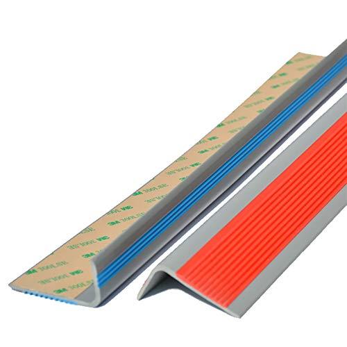 Cierre de Escaleras Borde de Paso de ángulo de 50x25mm para escaleras de Interior al Aire Libre PVC 1.2m Longitud autoadhesiva Escalera Anti resbalón sin Deslizamiento Exterior e Interior