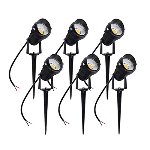 ABTSICA Landscape Lighting, LED COB Waterproof Daylight Lights 5W Spiked Stand Outdoor Walls Trees Flags Landscape Spotlights for Garden Patio Lawn Decorative Lamp 10Pack,Oblique Mouth,Warm White