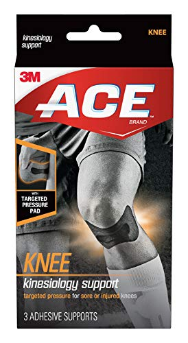 ACE Kinesiology Knee Support, Flexible Fiber, Pre-Cut Design Contours to Knee, Breathable, Water-Resistant, May Be Worn for up to Three Days, Black (900139)