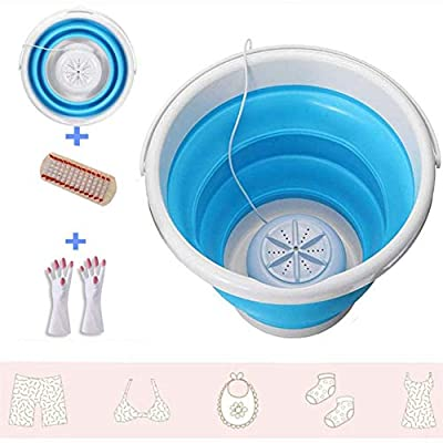 Portable Mini Turbo Washer with Foldable Bathtub, Compact Ultrasonic Washing Machine, USB Powered Travel Laundry, Suitable for Camping Apartment Dormitory RV Business Travel (Blue)