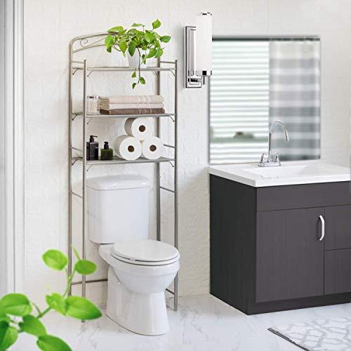 Home Zone Living Over the Toilet Bath Storage Rack, 3-Tier (Satin Nickel)
