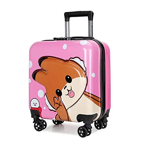 FGHHJ Bagagli per Bambini, Custodia Trolley, Carrello Rigido Leggero Trolley Piccola con 4 Ruote universali,Rosa
