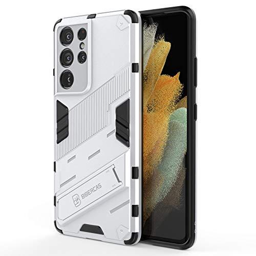 Cover per Samsung Galaxy S21 Plus 5G Custodia con Cavalletto in Metallo 360° Ring Difesa Militare Bumper TPU Con Strumenti di apertura Supporto Verticale e Orizzontale (ARGENTO)