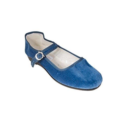 Sonnenscheinschuhe® - Bailarinas de Terciopelo para Mujer Azul Azul Vaquero 42
