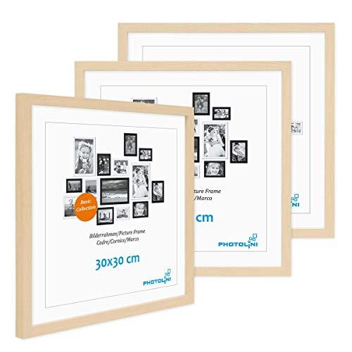 Photolini Juego de 3 Marcos 30x30 cm Modernos, Naturales de MDF con Vidrio acrílico, Incluyendo Accesorios/Collage de Fotos/galería de imágenes