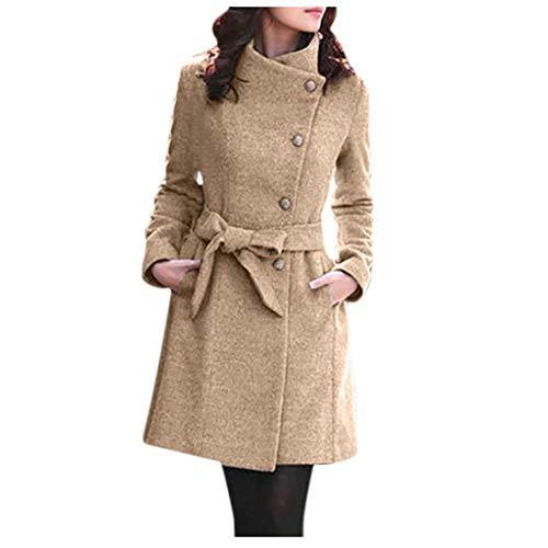 Xmiral Mantel Damen Einfarbig Rollkragen Lange Umlegekragen Trenchcoat Jacke mit Gürtel Winter Elegant Hohe Taille Warm Wintermäntel Steppjacke(Khaki,L)