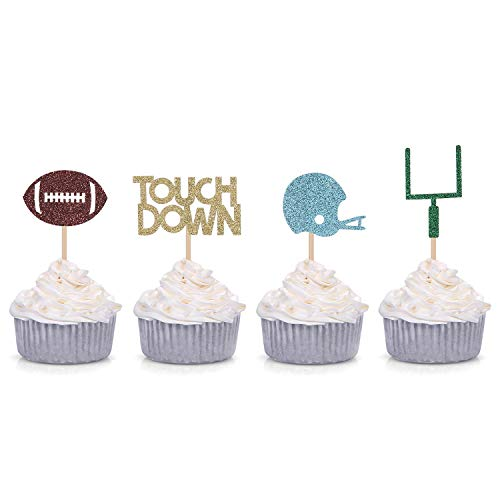 24 Counts Football Cupcake Toppers Rugby Ball Themed Decorations for Birthday Bachelorette Party