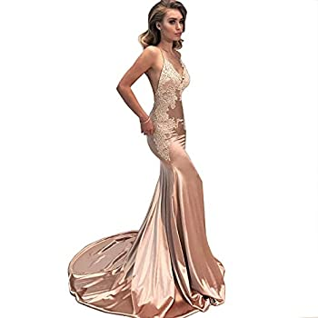 M Bridal Women s Lace Appliques Mermaid Long Train Prom Dresses Open Back Evening Gowns Naked Pink US4