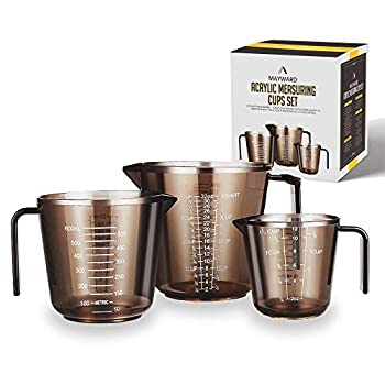 MAYWARD 3 Pcs Liquid Measuring Cups Set of BPA-free includes 1 2 and 4 Cup with Ml and Oz