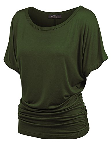 Made By Johnny MBJ WT817 Womens Dolman Drape Top with Side Shirring XL Olive