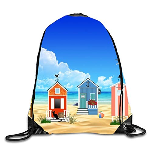 Lawenp Holiday Houses Sackpack Mochila con cordón Mochila Impermeable Gymsack Daypack para Hombres Mujeres