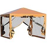outsunny tenda gazebo da giardino pieghevole con zanzariera, struttura in metallo copertura pe, 395x295cm, marrone
