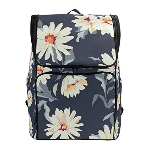Pretty Daisy Floral dunkelblaue Blume Vintage Blossom Rucksack Bookbags College Laptop Daypack Reisen Schule Wandern Tasche für Damen Herren