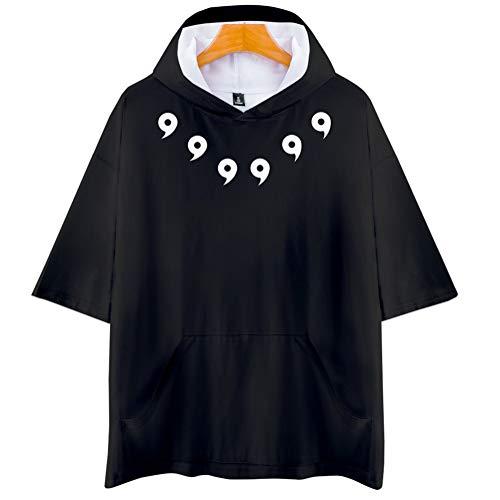 Naruto Cosplay Sudadera con Capucha de Manga Corta Video Juego Aficionados T-Shirt Pop Anime Logo Camiseta tee Tops Regalo hacia Hombre Mujer Niño Niña,Negro,3XL