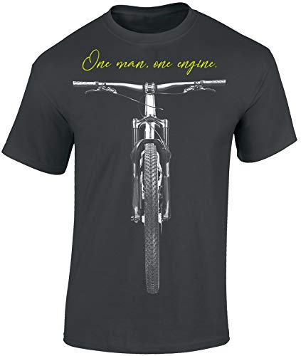 T-Shirt: One Man, One Engine - Fahrrad Geschenke für Damen & Herren - Radfahrer - Mountain-Bike - MTB - BMX - Biker - Rennrad - Tour - Outdoor - Downhill - Dirt - Freeride - Trail - Cross (L)