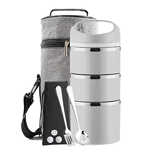 Lille Home Stackable Stainless Steel Thermal Compartment Lunch/Snack Box, 3-Tier Insulated Bento/Food Container with Lunch Bag & Foldable Spoon, Smart Diet, Weight Control, 43 OZ, Grey