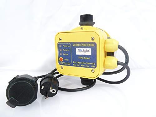 CHM GmbH® Automatische Pumpensteuerung mit Trockenlaufschutz und Manometer, Drucksteuerung, Druckschalter für Pumpe bis 10 Bar