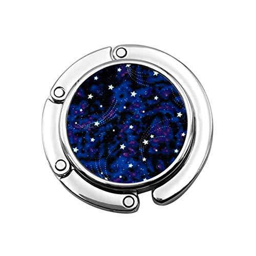 Geldbörsenhaken Galaxy Stars Magic Glow in The Dark Faltbarer Geldbörsenhalter Handtaschenaufhänger Taschenhaken für Tisch Schreibtisch
