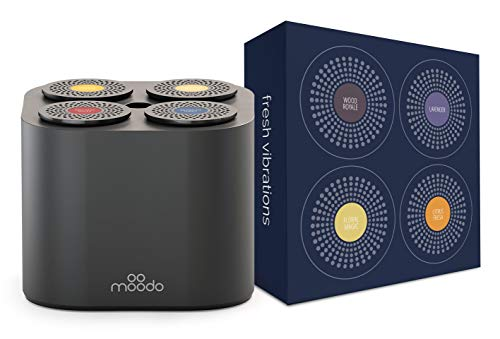 Moodo Smart Home Fragrance Diffuser Bundle with 1 Scent Capsules Sets (Value Pack) - scent personalization, 4 Pod Refils (Black Moodo with Fresh Vibrations pack)