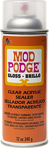 Mod Podge Spray Acrylic Sealer that is Specifically Formulated to Seal Craft Projects, Dries Crystal Clear is Non-Yellowing No-Run and Quick Drying, 12 ounce, Gloss