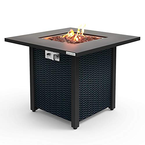 SereneLife SLFPS3 Outdoor Pit CSA Approved Safe 40,000 BTU Pulse Ignition Propane Gas Fire Table...