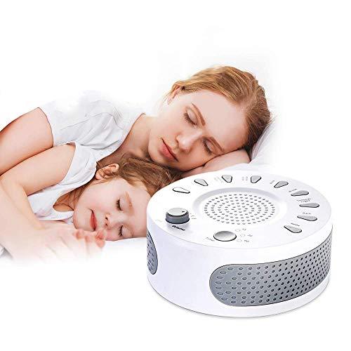 Entspannung Einschlafhilfe White Noise Machine, Schlafmaschine 9 Beruhigende Natural Geräuschen, USB Wiederaufladbare Geräuschgenerator Geräuschunterdrückung für Baby Erwachsener Insomnia Traveller