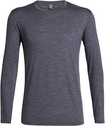 Icebreaker Solace T-Shirt Manches Longues à Col Ras-du-Cou Homme, Midnight Navy Modèle S 2019 t Shirt Manches Longues