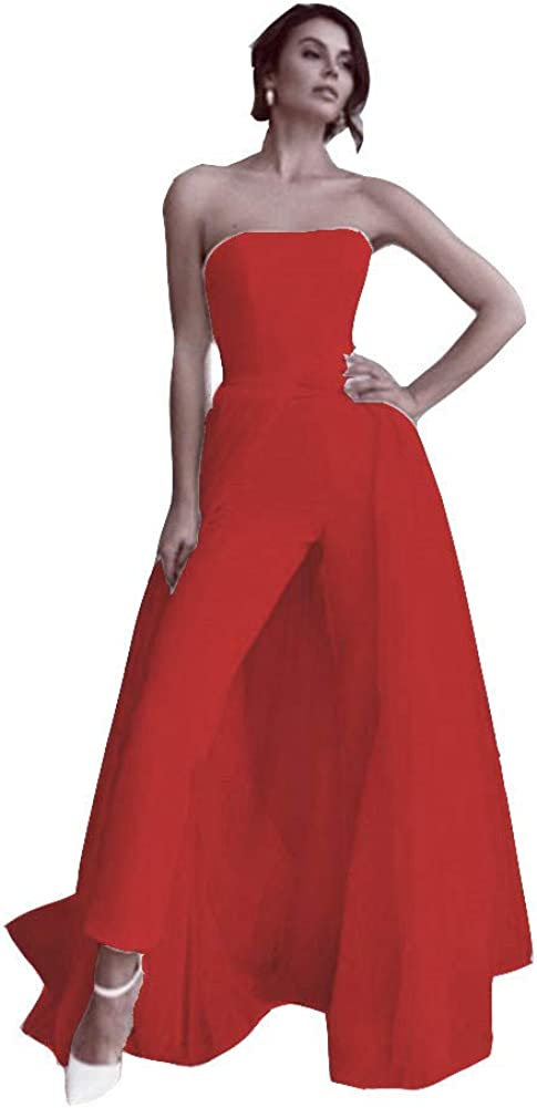 Snow Lotus Women's Strapless Translated Jumpsuit Decal Detachabl High material Dress Prom