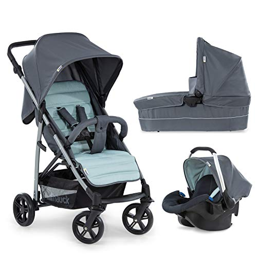 Hauck Rapid 4 Plus Trio Set, 3-in-1 Travel System with Carrycot + Car Seat for New Borns, from Birth to 25 kg, One Hand Fold, Compact, Grey Mint