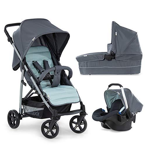 Hauck Rapid 4 Plus Trio Set 3 in 1 Kinderwagen Set bis 25 kg, isofix-fähige Babyschale, Babywanne mit Matratze ab Geburt, höhenverstellbarer Griff, klein faltbar, leicht, grey/mint