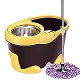NYKK Mocio Microfibra Mop Bucket Double Drive Acciaio Inox 360 Rotary Mop Extended Length Set Completo di setaccio e Secchio Prodotti per l'igiene Mocio Lavapavimenti