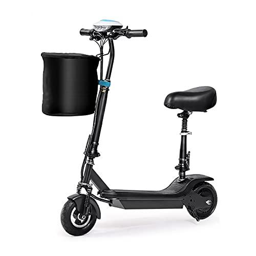 MKKYDFDJ Patinete Eléctrico,Plegable E-Scooter Ligera,Doble Amortiguador E-Bicicleta con Asiento para Niños,Urban Commuter...